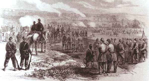 Drawing of the Battle of Rowlett's Station