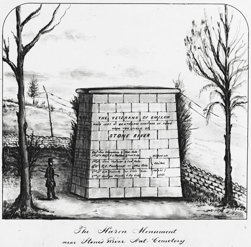Drawing of Hazen Monument with trees