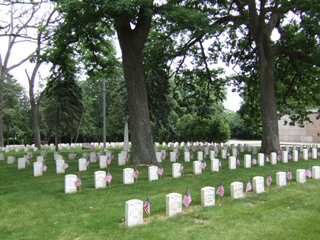 The Forest Hill Cemetery Soldiers' Lot in Wisconsin.