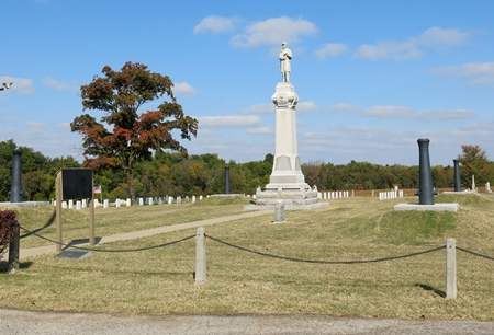 Monument commemorating those buried at the Baxter Springs City Soldiers' Lot.
