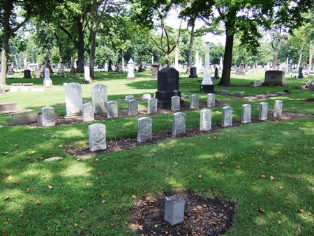 The Woodland Cemetery Soldiers' Lot in Ohio.