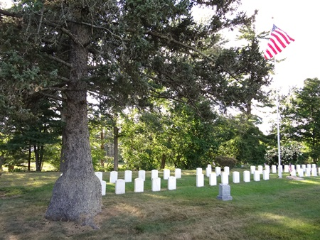 Burial area at the Woodlawn Cemetery Soldiers' Lot in Ayer, Mass.