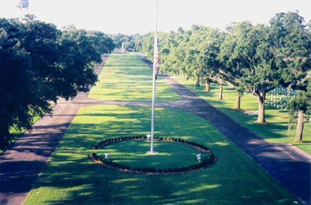 Aerial view of Biloxi National Cemetery.