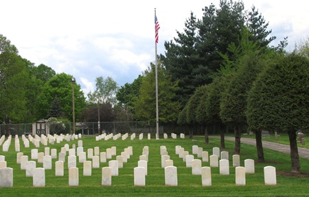 Burial area and flag pole at Kentucky's Danville National Cemetery.