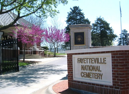 Entrance gate at Fayetteville National Cemetery.