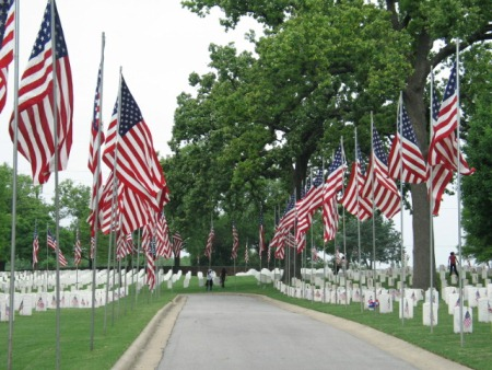Avenue of Flags display at Fort Smith National Cemetery.