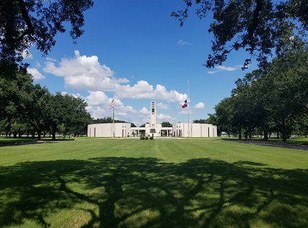 Hemicycle, a semicircular shape or structure, located within Houston National Cemetery, 2016.