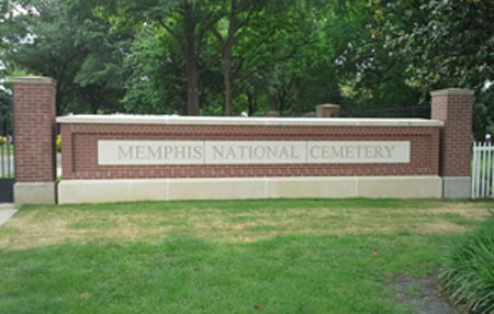 Memphis National Cemetery sign at the entrance.