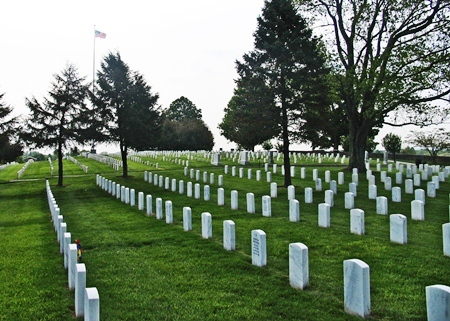 Burial area at Mill Springs National Cemetery.