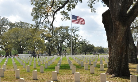 Burial area at Mobile National Cemetery.