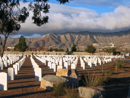 Fort Bliss National Cemetery at sunset.