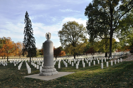 12-foot granite grave marker of Gen. Henry Leavenworth at Fort Leavenworth National Cemetery.