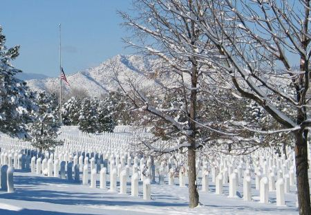 Fort Logan National Cemetery after a snowfall.