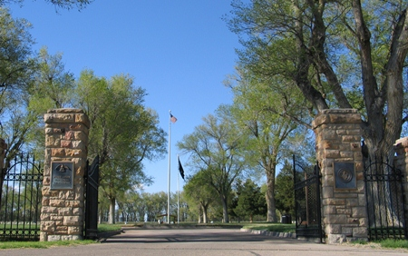 Front gate at Fort Lyon National Cemetery.