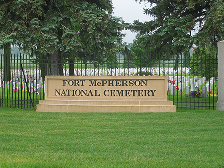 Burial area at Fort McPherson National Cemetery.