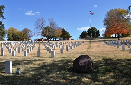 Historic burial area at Fort Scott National Cemetery.