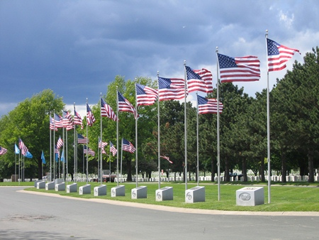 Fort Snelling National Cemetery avenue of flags.