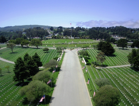 Aerial view of Golden Gate National Cemetery.