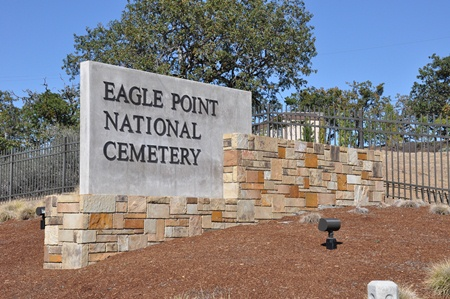 Entrance gate at Eagle Point National Cemetery.