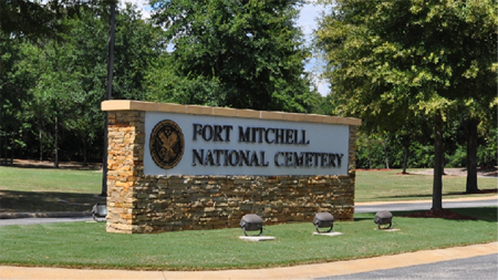 Front gate at Fort Mitchell National Cemetery.