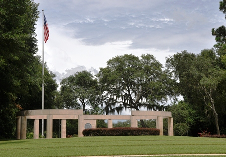 The main assembly area colonnade at Florida National Cemetery.