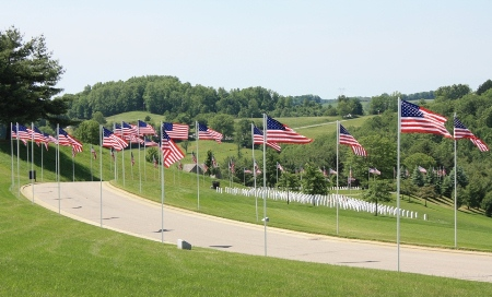 Avenue of Flags at West Virginia National Cemetery.