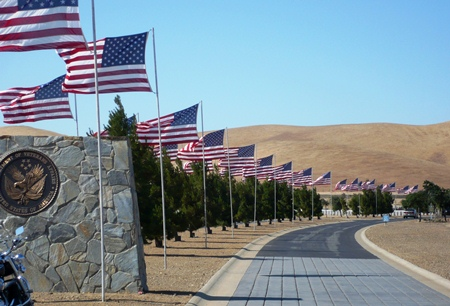 Avenue of Flags at San Joaquin Valley National Cemetery.