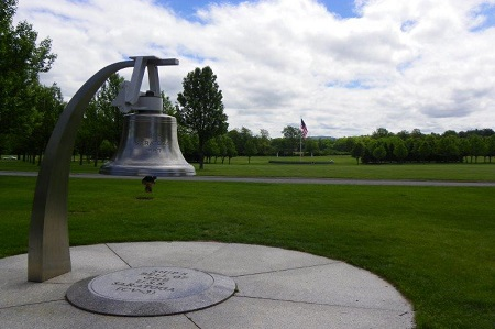 Ship's bell from the USS Saratoga at Gerald BH Solomon Saratoga National Cemetery.