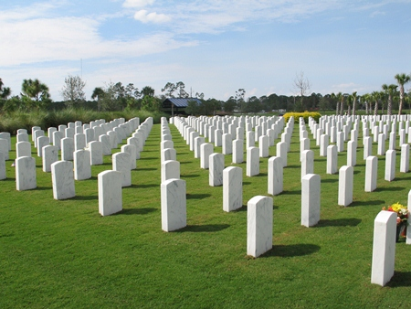 Burial section at South Florida National Cemetery.