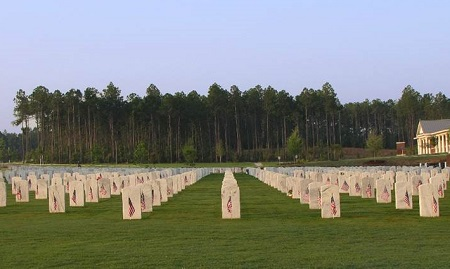 Burial area at Fort Jackson National Cemetery.