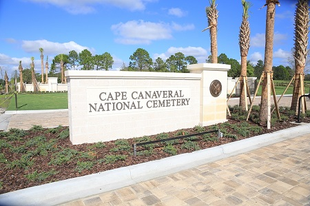 Entrance to the Cape Canaveral National Cemetery.