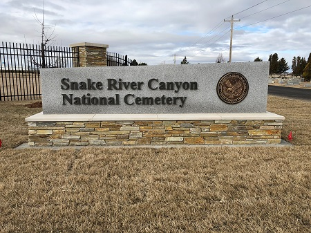 The entrance of Snake River Canyon National Cemetery in Buhl, Idaho.