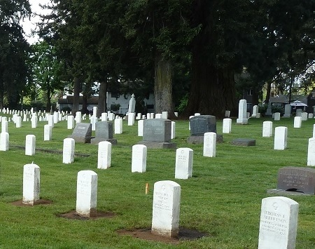 Headstones line the gravesites at Vancouver Barracks National Cemetery.