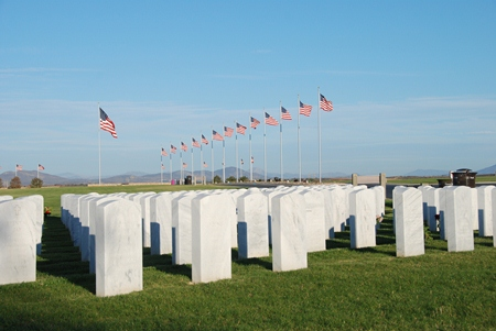 Miramar National Cemetery headstones and flags.