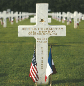 Gravesite of John Hunter Wickersham, WWI Veteran, Medal of Honor recipient. (Photo courtesy of the American Battle Monuments Commission).