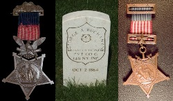 Photographs of early Army and Navy Medals of Honor and a Medal of Honor headstone.