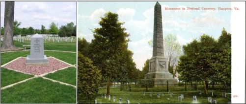 Monuments to Service - to women veterans at Rock Island National Cemetery (left) and by Army Nurse Superintendent Dorothea Dix at Hampton National Cemetery (right).
