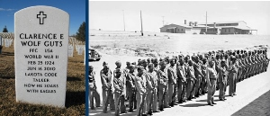 Left: Headstone of Clarence Wolf Guts, last Lakota Code Talker, buried in Black Hills National Cemetery. Right: Code Talkers in San Diego, California, 1942. Department of Defense.