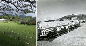 Left: Burial section at NMCP, today. Right: Flag draped caskets for interment at NMCP in 1949.