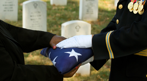VA provides a burial flag to next-of-kin of deceased eligible Veterans.
