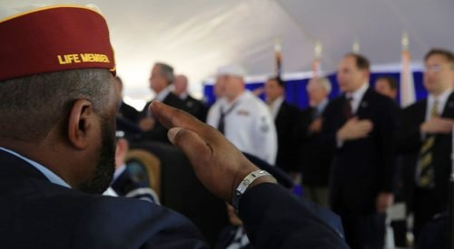 Veteran salute at national cemetery dedication