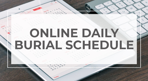 Graphic for online Daily Burial Schedule.