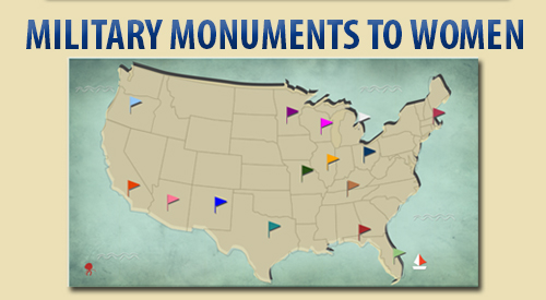Map of military monuments to women located in VA national cemeteries across the U.S.