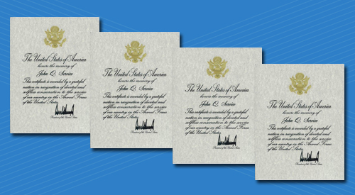 Photo of Presidential Memorial Certificate