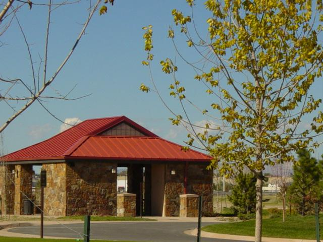 Picture of a cemetery's committal service shelter