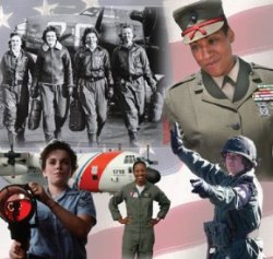 collage of photos of women in service