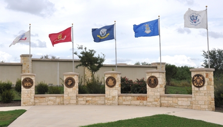 Fort Sam Houston National Cemetery flag pavilion and assembly area.