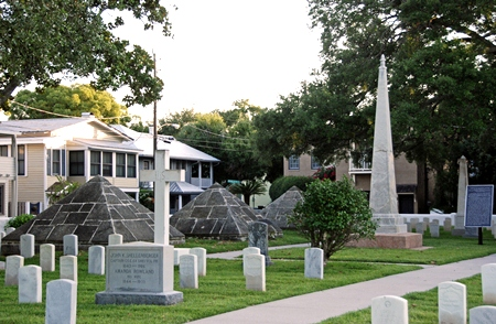 A photo of rows of upright headstones pictured horizontally with palm trees and Victorian style homes in the background.