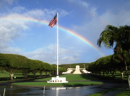 American Flag at Half Mast, entrance to the National Cemetery of the Pacific