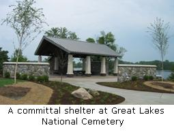 A committal shelter at Great Lakes National Cemetery